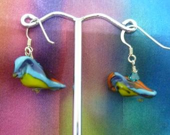 Woodpecker earrings with Swarovski crystals
