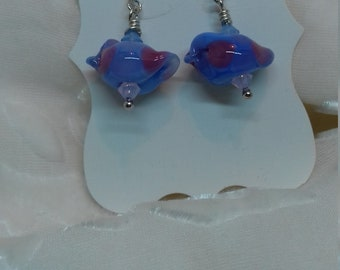 Earrings blue/ pink spotty birds with Swarovski crystals and sterling silver ear wires