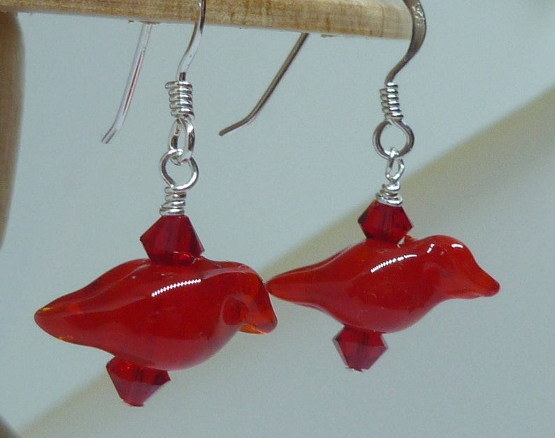 Earrings Lovely red birds  with Swarovski crystals. image 0