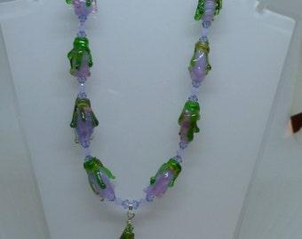 flower drop necklace purple