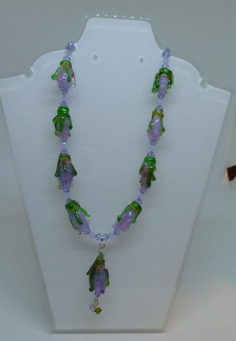 flower drop necklace purple image 0