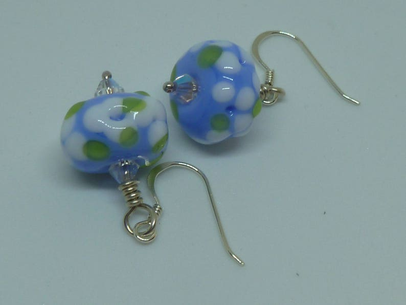 Earrings in blue and white image 0