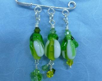 brooch pin, beaded drop, snowdrop, white,green,
