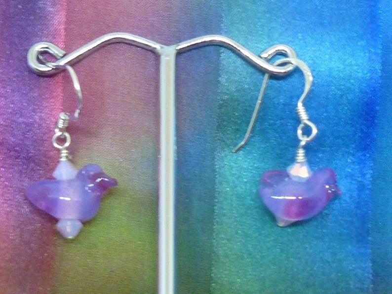Earrings purple birds with Swarovski crystals image 0