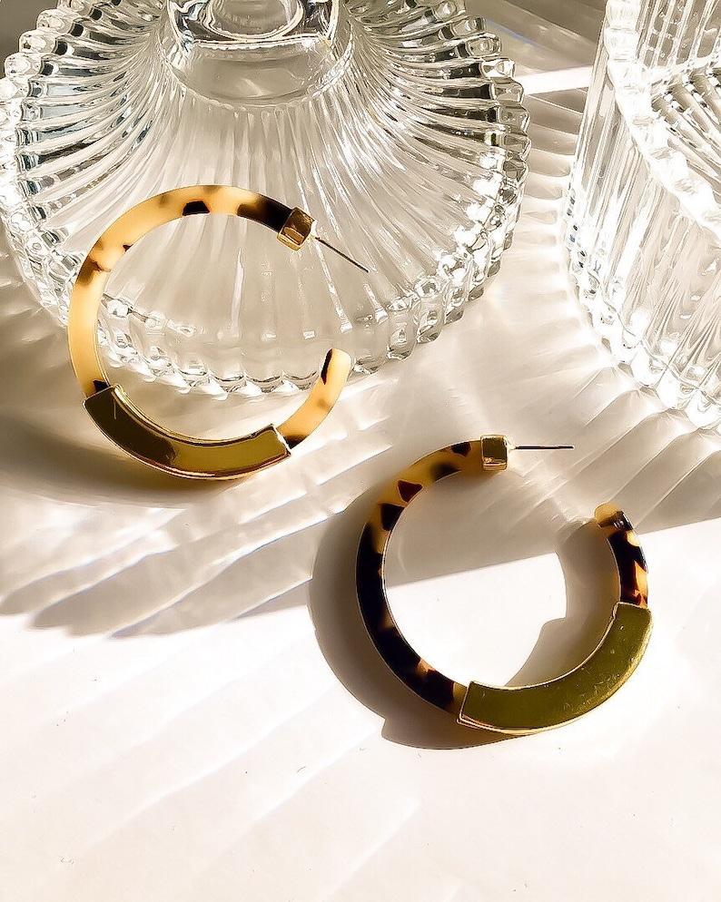 Coffee marble pattern gold fashion earring daily earrings Hannah