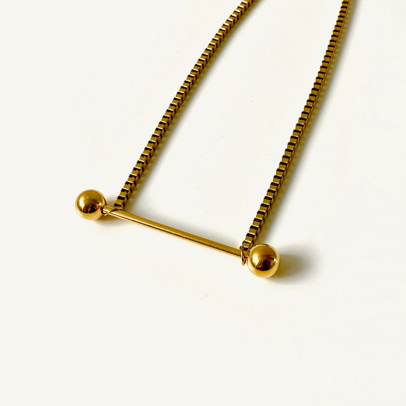 Gold Charm Necklace Gold Dainty Choker Antique Fine Jewelry Pendant Dumbbell Bar Chain Choker Chain Gold Necklace