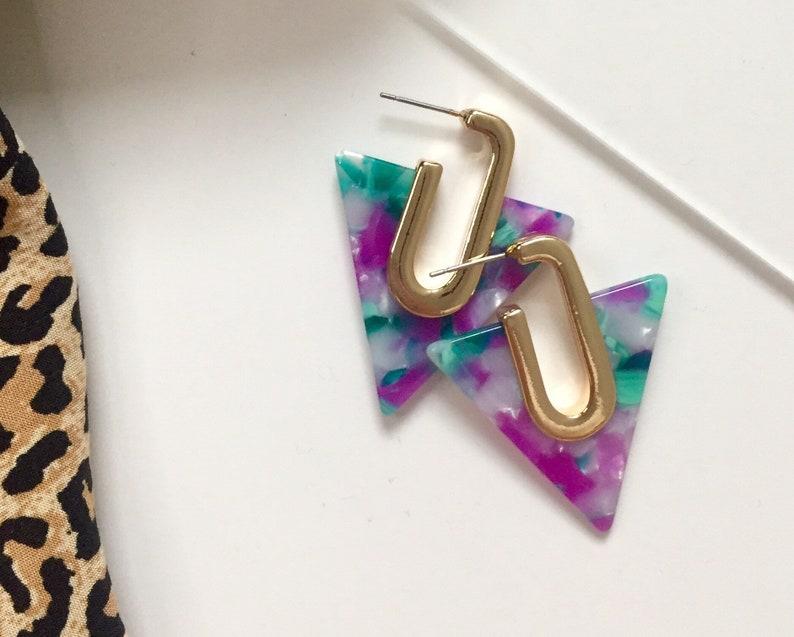 Elizabeth Colourful marble pattern triangle fashion earring