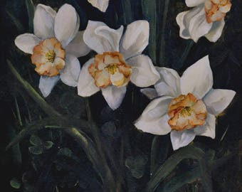Flowers Oil Painting Small oil art Flowers Daffodils