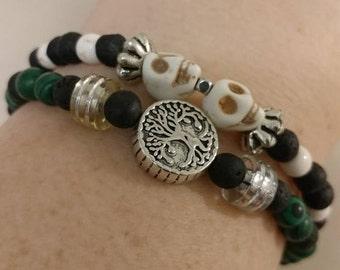 Beaded skull bracelet, stones, not plastic