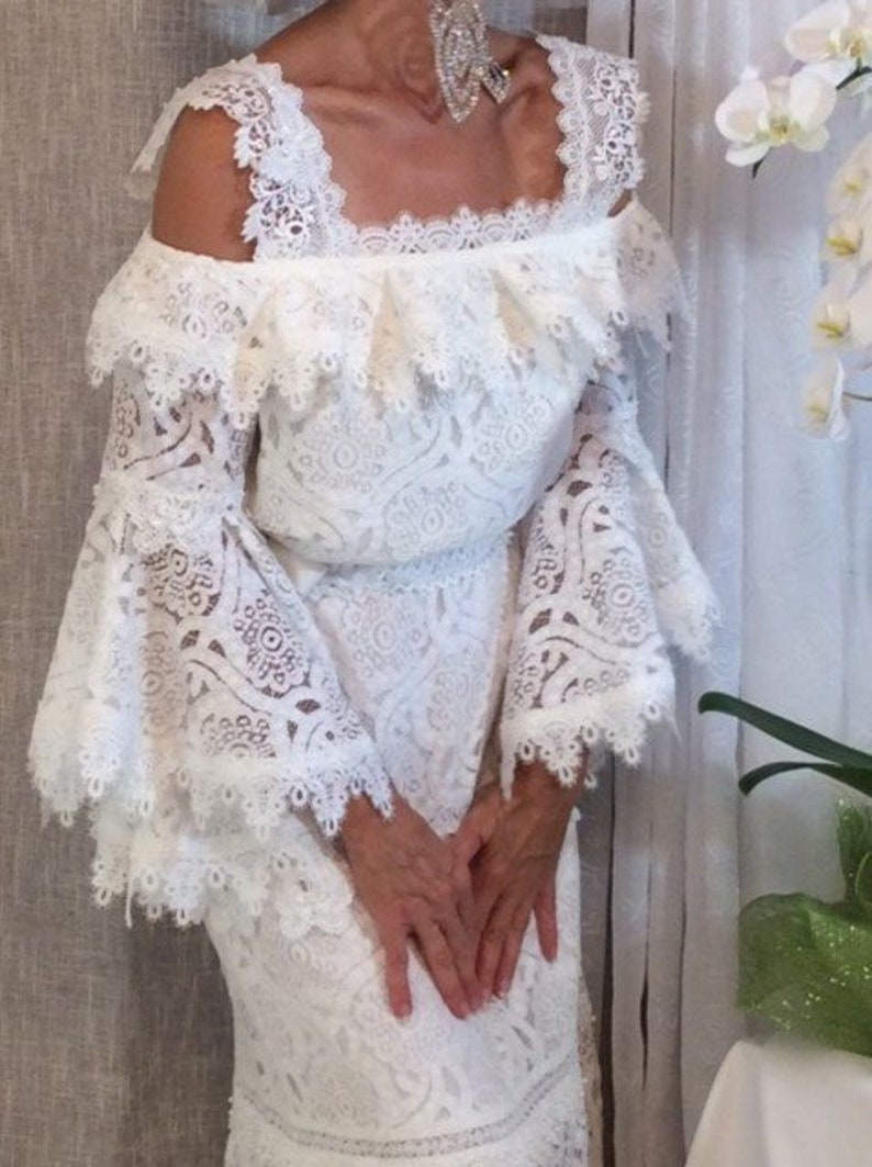 Maxi Bridal lace gown. Engagement outfit. Long sleeve image 0