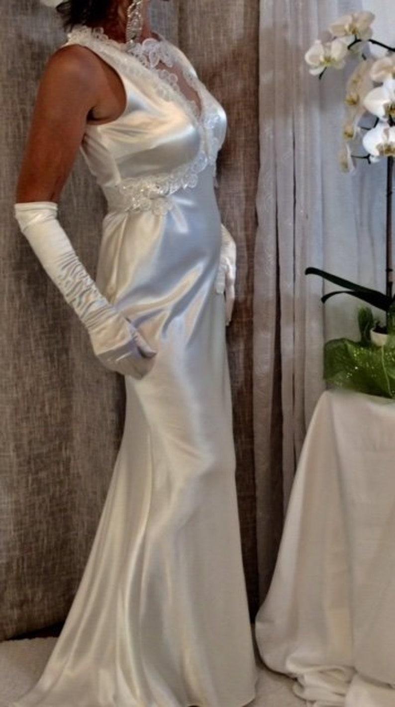 Off white/ivory Satin Designer Long Bridal Dress With image 0
