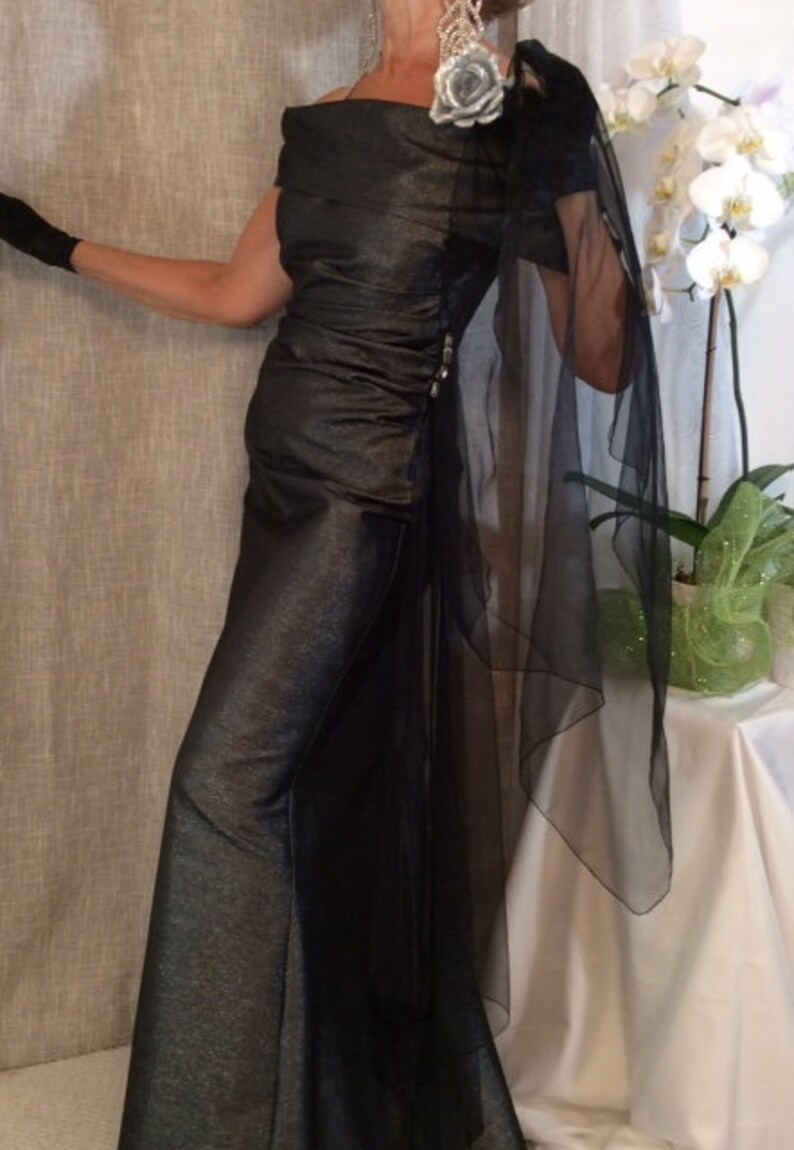 Designer Black and Silver long Formal Dress With Crystals And image 0