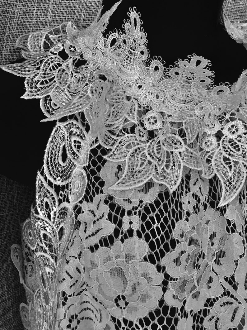 Off white cotton lace blouse. Bridal separates. Sleeveless image 0