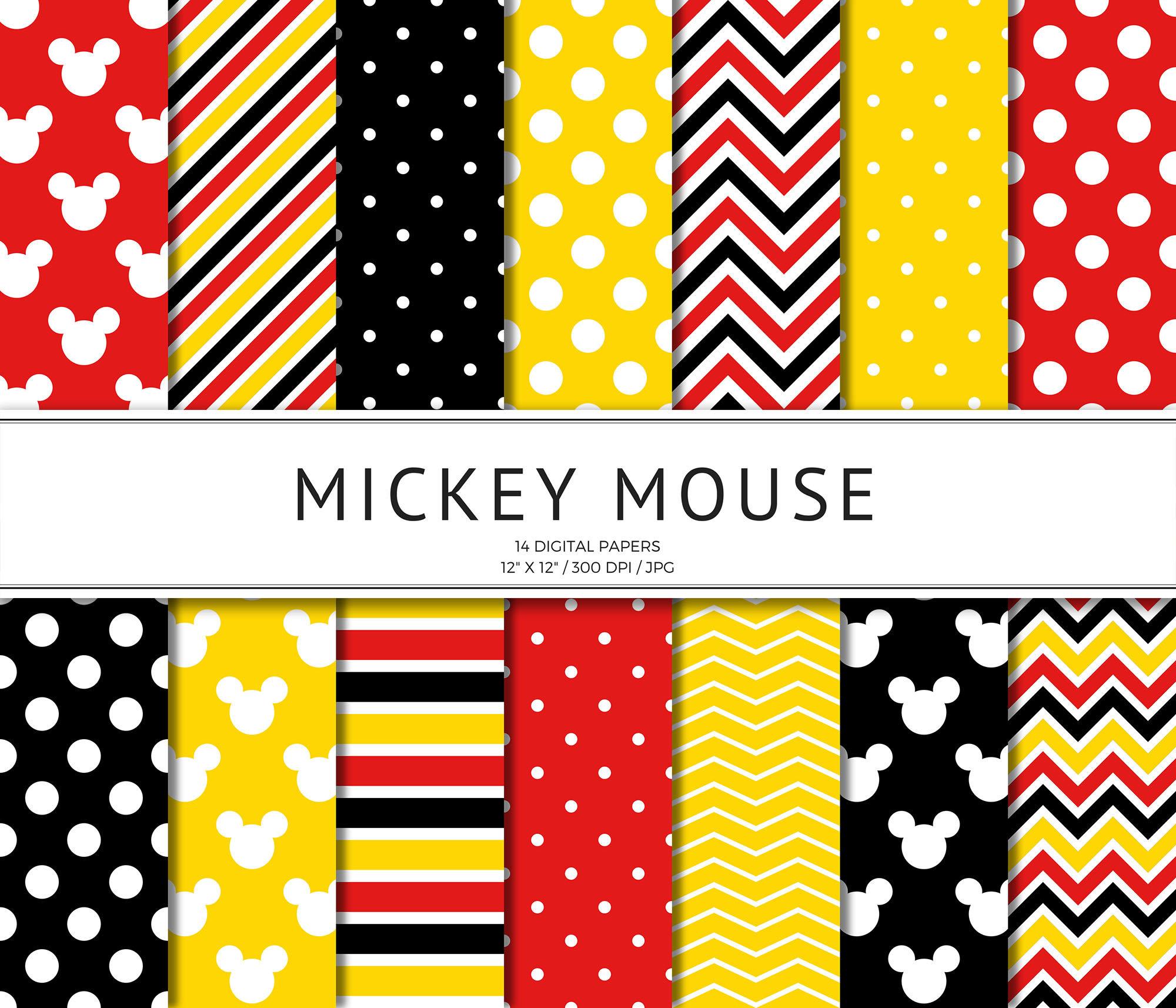 Mickey Mouse inspiriert digitales Papier Disney Scrapbook