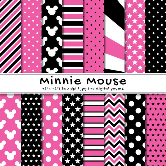 Minnie Mouse Inspired Digital Paper Pack Disney Scrapbook Etsy