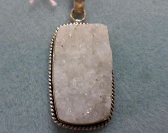 White Geode Druzy Agate Set in Silver