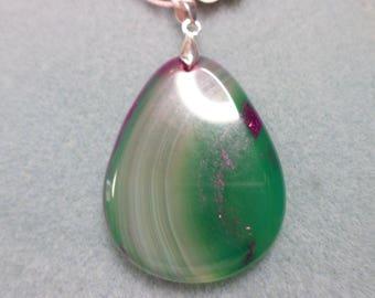Green and Purple Agate Teardrop Pendant