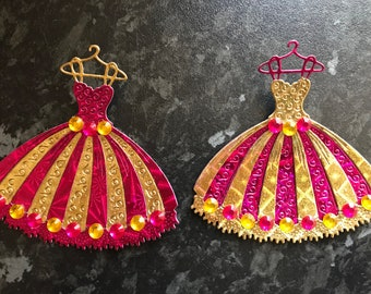 2 x pink and gold dress toppers with gemstones