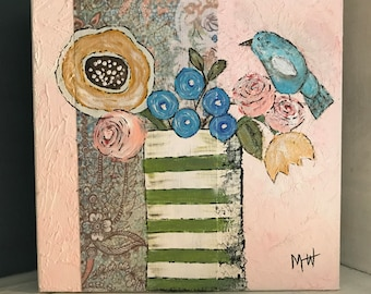 SOLD-Pink Green White Striped Vase Whimsical Bird Floral 8x8 Acrylic Painting