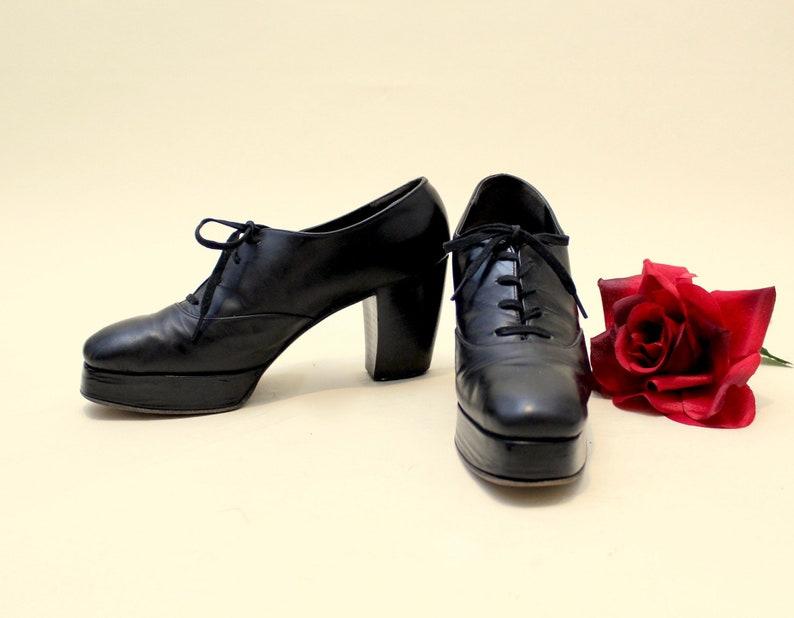 1960s Black Platform Leather Oxford Heels Shoes