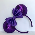 Purple Sequin Mouse Ears with Satin Bow.  Violet Passion Minnie Mouse Ears. Custom Handmade Mouse Ears Headband. Gifts for Her Under 50.