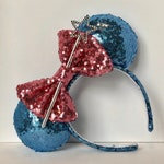 Fairy Godmother Sequin Mouse Ears.  Blue and Pink Mouse Ears with Wand. Custom Handmade Mouse Ears Headband. Gifts for Her Under 50.