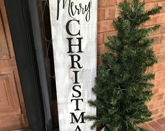 Christmas Porch Sign, Vertical Porch Sign, Merry Christmas sign, Distressed Christmas sign, Hand painted, Farmhouse Porch Décor, Rustic Sign