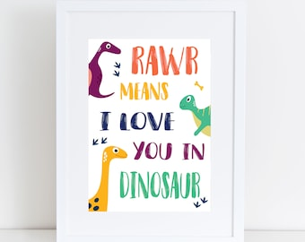 Colourful Rawr means i love you in dinosaur print