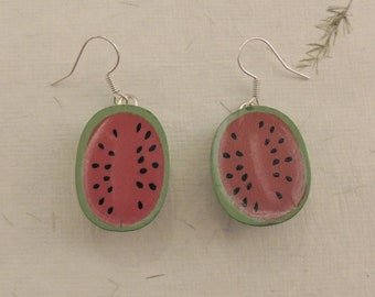 Wooden watermelon earrings