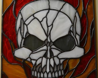 Stained Glass Skull. Custom Stained Glass Flaming Skull. Skull