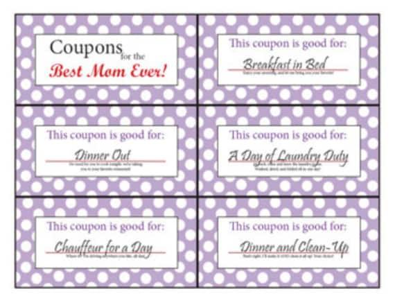 Coupon Book For Mom Printable Digital Stocking Stuffer Etsy
