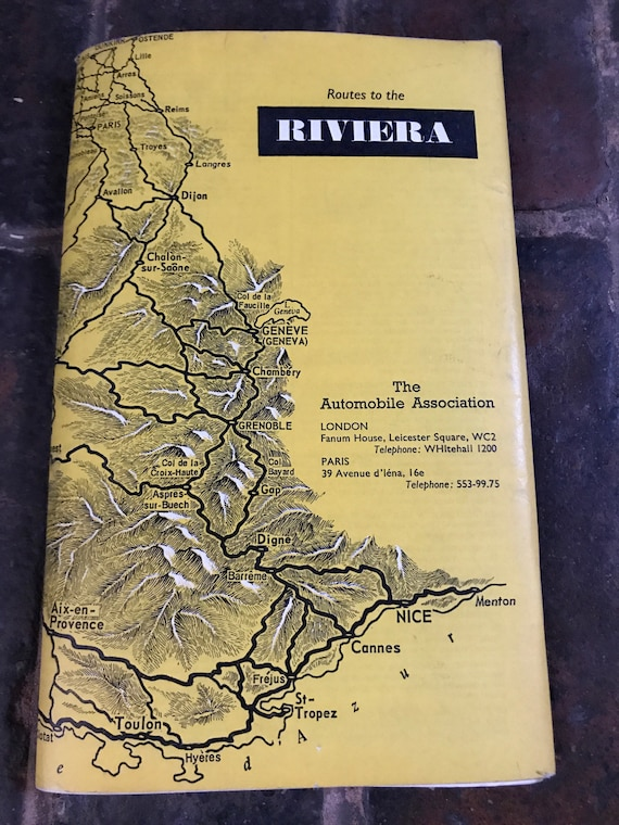 Vintage 1960s AA Continental Route Book Routes to the Riviera | Etsy