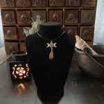 Triple Moon Goddess with Tigers Eye necklace