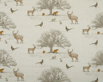 Tatton Fryetts Woodland Fox Stag Deer Cotton Fabric Curtain Upholstery Quilting