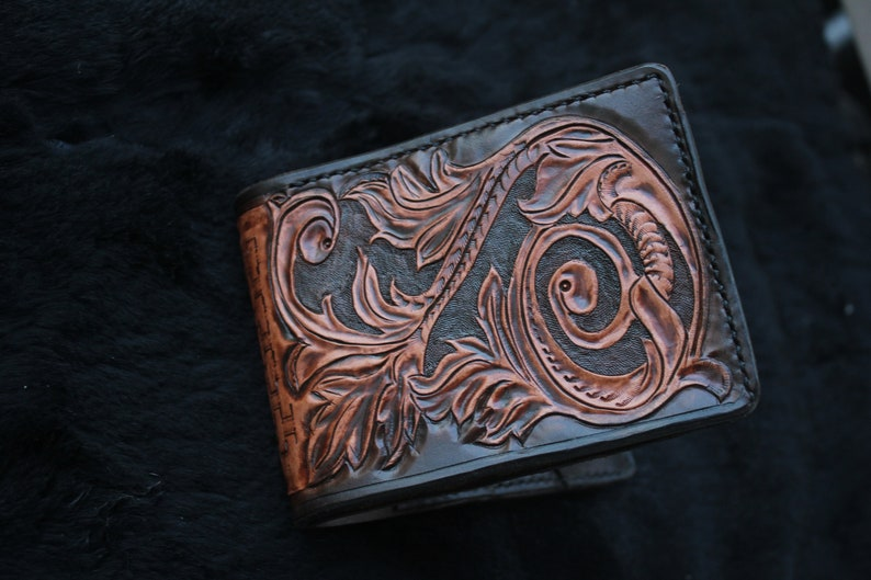 Leather wallet handmade custom carved veg tan leather wallet lifetime guarantee saddle stitched vegetable tanned leather wallet