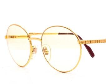 c65c2de9752 Original HILTON Round Exclusive 025 Gold C1 24KT Size 52 Gold Plated Round  Eyeglasses Eyewear Optical Frame Sunglasses Lunettes