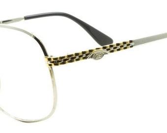 40b9e9172c2b5 Ettore Bugatti EB 500 0105 zilver goud vierkante formaat 58mm Vintage  Designer Eyeglasses Frame zonnebril