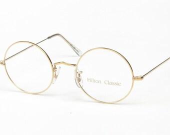 d801d2cef68 Original Vintage Hilton Classic 2 Round Gold Vintage 14K Rolled Gold  Eyeglasses Optical Frame Sunglasses Size 49-22