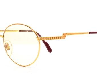 765336b2d57 Original HILTON Round Exclusive 025 Gold C1 24KT Gold Plated Round  Eyeglasses Eyewear Optical Frame Sunglasses Lunettes Size 48