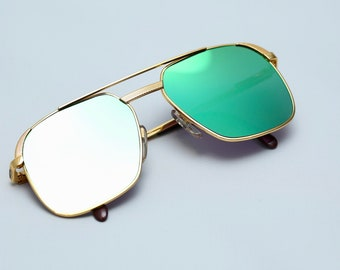 6dd8258654 Hilton Class 10 995 Vintage 24kt Gold Plated Luxury Aviator Square Size  56-17 Designer Hilton Class Sunglasses With Flash Green Mirror