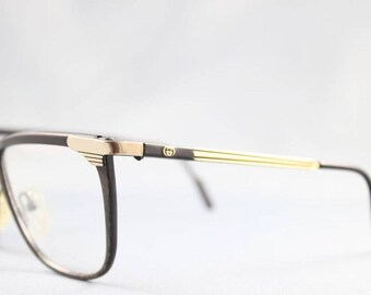 97a57e759db Gucci Vintage 2227 38M Black Gold Tortoise Wayfarer Plastic Metal Eyeglasses  Optical Frame Sunglasses