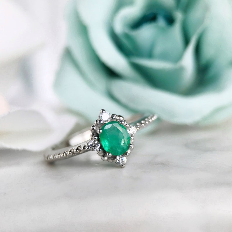 b27c78c927f9a Emerald Ring, Emerald Engagement Ring, 14K White Gold, Vintage Emerald  Ring, Proposal Ring, Emerald Wedding Ring, Diamonds Emerald, 18K Gold