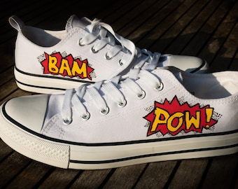 Converse Style Comic Book Superhero Hand Painted Customised Size UK 6 Shoes  Pow Bam d873d6819