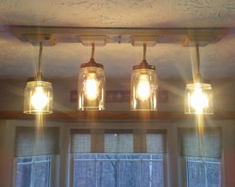 Mason Jar Four Pendant Light - Rustic New England Farmhouse Fixture