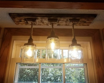 Mason Jar 3 Pendant Light - Rustic New England Farmhouse Fixture