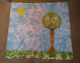 Tie Dyed Tapestry! Tree, Sun and Sky!