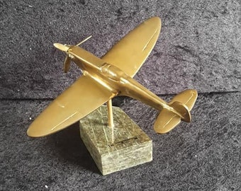 Vintage Brass Spitfire on Cornish Serpentine stand Desk Ornamant, spinning propeller, WWII CLASSIC