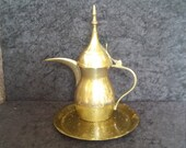 Vintage Middle Eastern designDALLAH coffee pot.etched coloured brass with beautifully decorated brass plate.India.Islamic coffee pot set
