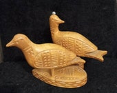 Lovely naive scandinavian rustic pair of birds on a heart plinth.hand carved love birds fabulous wedding gift