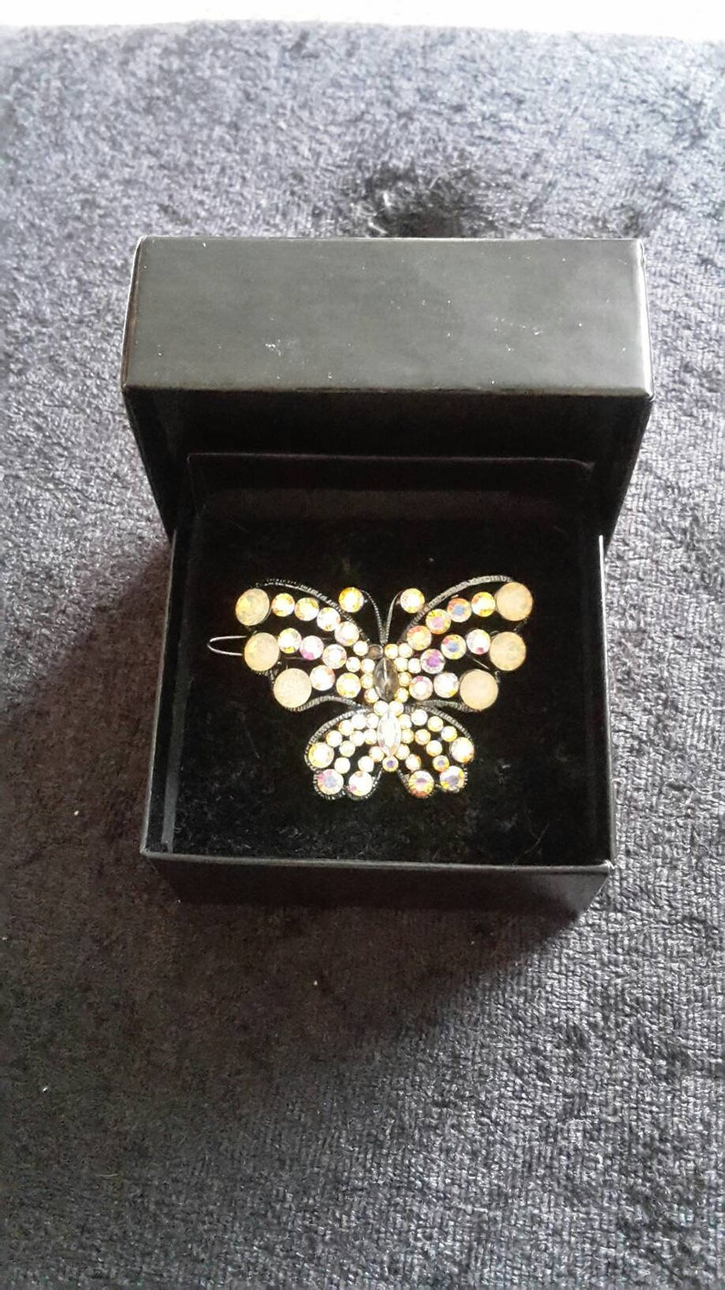 3327fadc544d Pretty Butler and Wilson Crystal Butterfly Hair clip | Etsy